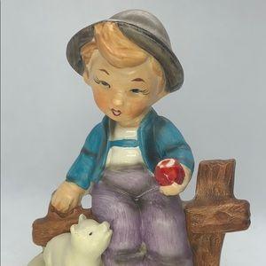 Vintage Porcelain -Boy Sitting On Fence With Apple